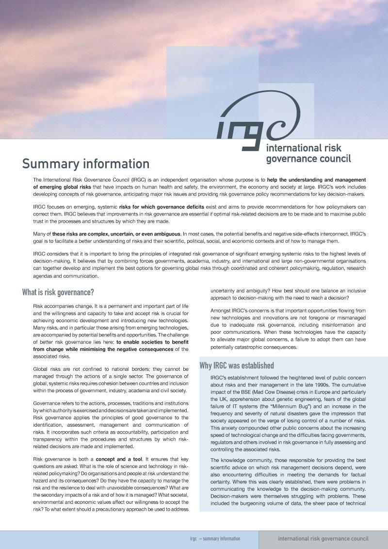 irgc | Summary info