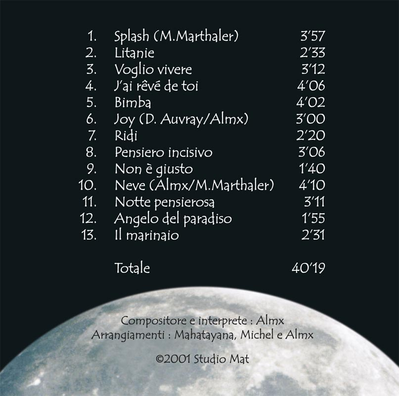 Ballando sulla luna | Design couverture CD